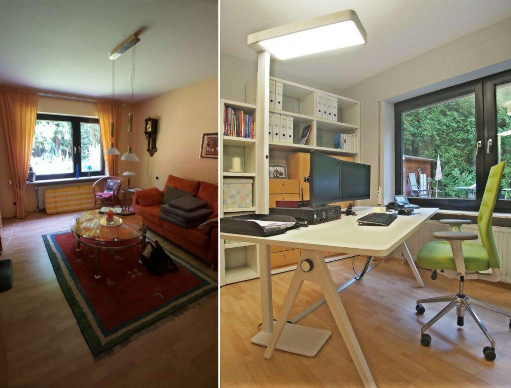 Schreibtisch, Sitzmöglichkeit